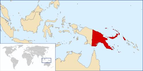 パプアニューギニアの位置を示した地図