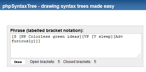 phpSyntaxTree 入力欄。括弧で統語構造を入力し、[Draw]ボタンを押すだけ。