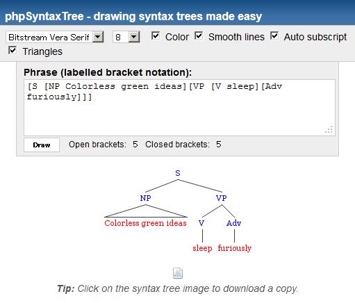 phpSyntaxTree 出力結果。画像をダウンロードできるほか、設定を色々と変更できる。
