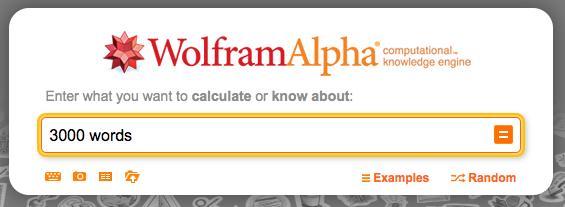 Wolfram|Alpha で 3000 words と検索する