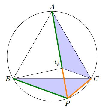合同な三角形を見つけることで、長さが等しいことが分かる。