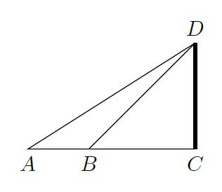 明治三十九年度旧制高等学校入試の数学の三角法問1を図にしたもの。