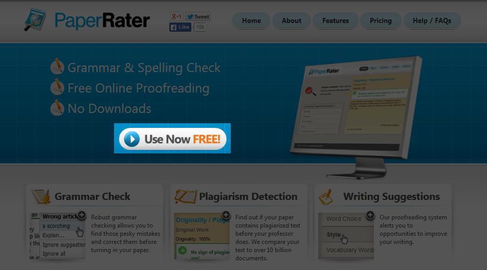 PaperRaterで英文のブラッシュアップを行うためには、Use Now FREE! ボタンから始める。
