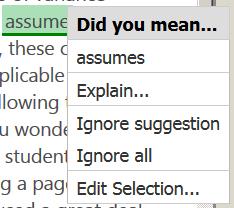 PaperRaterでの誤りの修正。ここでは、三人称単数現在形なので、assumeでなくassumesに直すことが指摘されている。