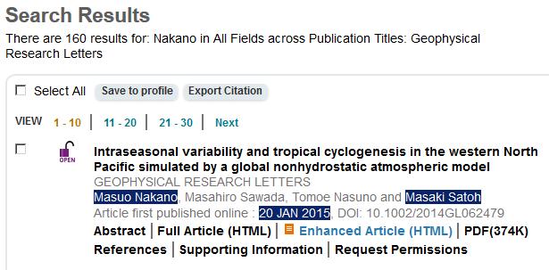 検索で見つかった論文には、記事で触れられていた研究者の名前や日付が含まれている。