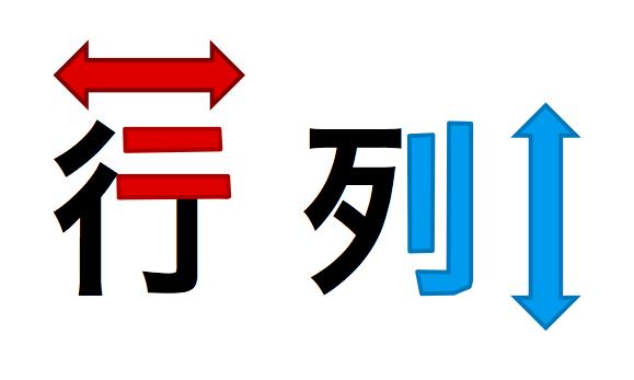 「行」・「列」のそれぞれの漢字で、平行線がどの方向に伸びているかに着目すれば、どの方向を示すのかが覚えやすい。