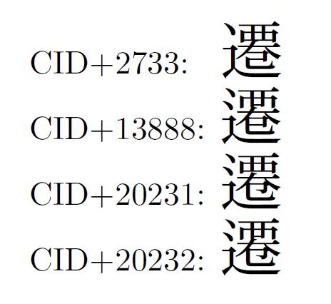 Adobe Japan1-6における「遷」のさまざまな字体。旧字体でよく使われた右下を「巳」として右上を「覀」にした字形を用いることはできない。