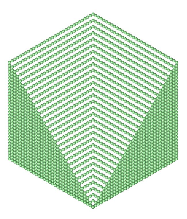 2016個の丸を正六角形の形に並べたもの。この図で1番外側の六角形の一辺には32個の丸が並んでおり、2016が32番目の六角数であることが分かる。