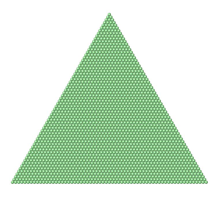 2016個の丸を正三角形の形に並べたもの。この図で1番外側の三角形の一辺には63個の丸が並んでおり、2016が63番目の三角数であることが分かる。