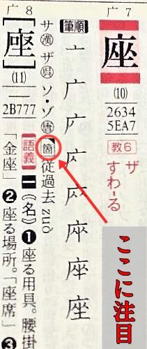 『全訳漢辞海 第4版』で「座」の平仄と韻を調べる。