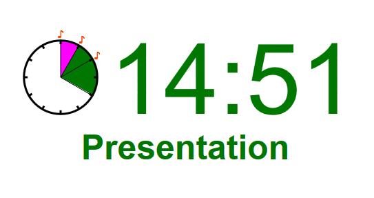 プレゼン用タイマー ver.5 の表示例。