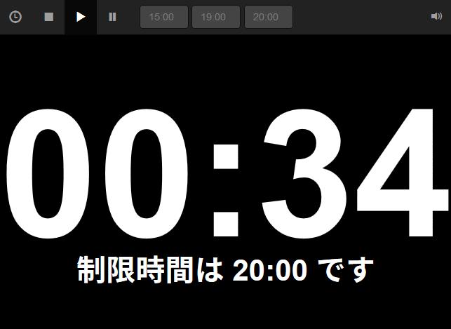 Time Keeper の表示例。