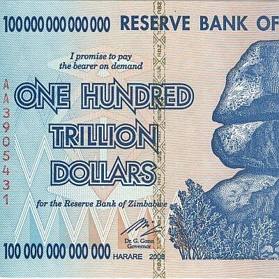 one hundred trillion(百兆)ジンバブエドルの紙幣。21世紀初頭のハイパーインフレによりこのような高額の紙幣が発行された。