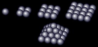1<sup>2</sup>から4<sup>2</sup>までの合計は30になる。なお、平方数に対応するようにブロックを1から順に積み上げていくと、この図のように四角錐をなす。