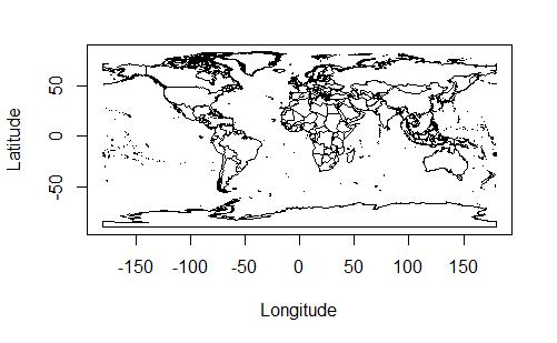 geosphere パッケージに含まれている世界地図データの図示。