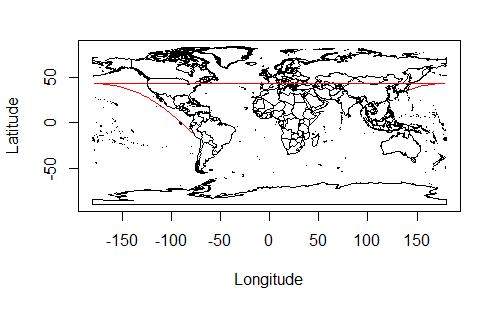 東京とリマの間の大圏航路をうまく引けなかったもの。180度の経線を越えるところの処理がうまくいっていないため、余計な水平線が入ってしまっている。