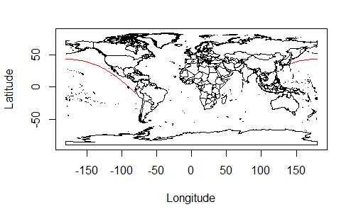 東京とリマの間の大圏航路。今度は経度180度線をうまく越えることができている。