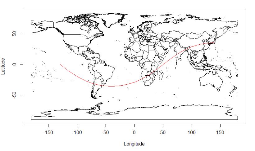東京から真西を向いた先には、インドやアフリカ南部などがある。