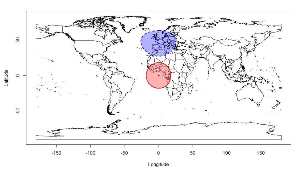 世界地図上に等距離線を描いた例。地図中央(西アフリカの沖合)の赤い実線で囲まれた部分が、経度0度緯度0度の地点から2000キロメートルの等距離線である。地図の上側(西ヨーロッパ)の青い破線で囲まれた部分が、経度0度北緯45度の地点から2000キロメートルの等距離線である。