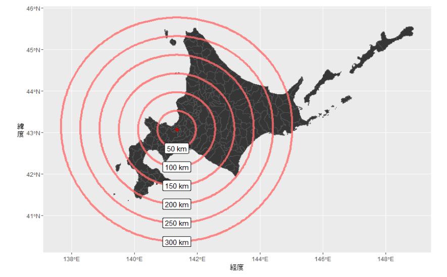 札幌駅から50, 100, 150, 200, 250, 300キロメートルの等距離線を北海道の地図上に描いたもの。