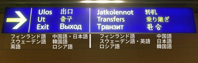 フィンランドのヘルシンキ・ヴァンター空港における出口・乗り継ぎの案内看板(2017年10月撮影)が表している7言語。