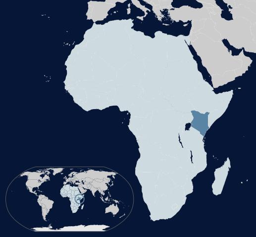 ケニアは東アフリカに位置する。